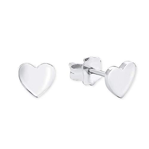 s.Oliver So Pure - Orecchini da donna a forma di cuore, in argento 925 rodiato, 6 mm