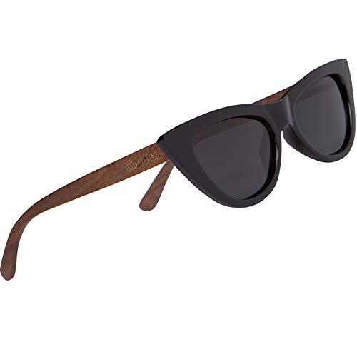 Woodies - Gafas de sol (madera de nogal), color negro