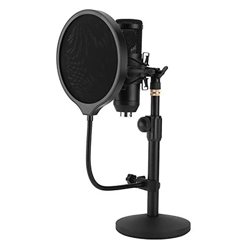 Micrófono de condensador inalámbrico, USB Micrófono de condensador de grabación inalámbrico Puertos de audio dobles Juego de micrófono de cabeza redonda para vivir en casa