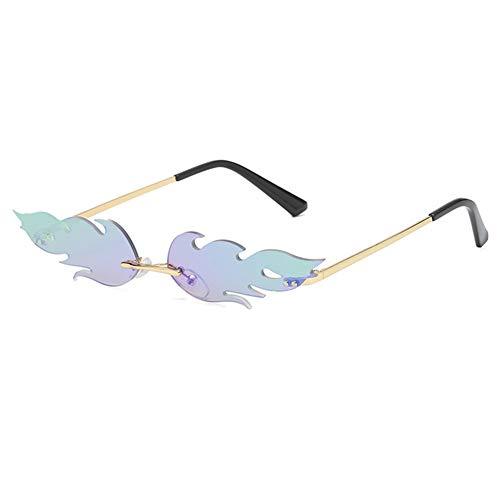 Aisoway Feuer Flamme Sonnenbrille Frauen Männer Randlos Welle Sonnenbrillen Brillen Narrow Sun Glasses