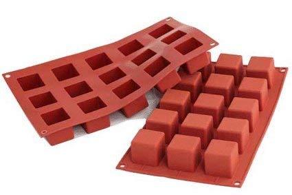 silikomart 26.105.00.0065 Moule en Silicone Forme de Cube, Rouge Brique, 29,5 x 17,5 x 1,5 cm