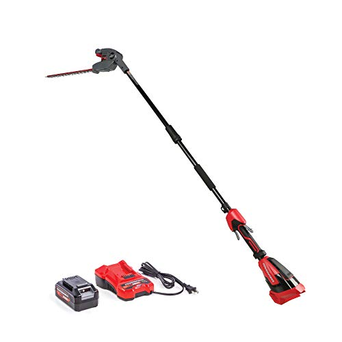 Powerworks XB 40V 20-Inch Cordless Pole Hedge Trimmer, 2Ah Battery and Charger Included PTP301, 20 inch, Black & Red