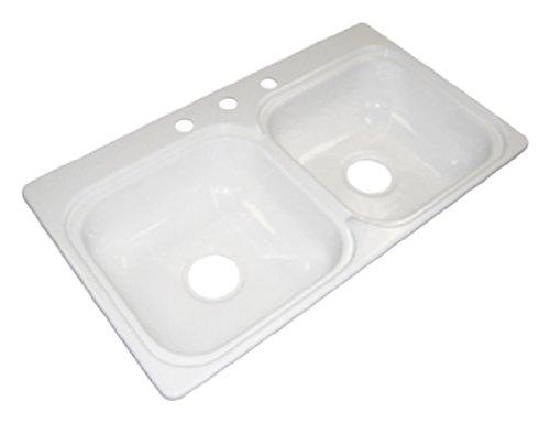Kinro Composites W331973 33'X19'X7-1/2' 3-Hole Acrylic Double Sink
