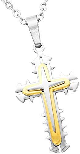 ZKZKK Collar de la protección, Jesús Collar for Mujer for Hombre de Acero Inoxidable Cruz Colgante Collar de Cadena de oración de Regalo de Plata