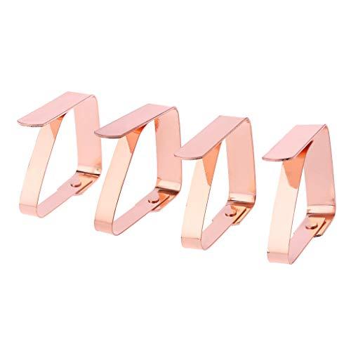 A0127 Clip de Nappe Clip Pince à Nappe en Acier Inoxydable Clip Fixe Or Rose Pince à Nappe extérieure Pique-Nique 4 pièces Réglable Décoration de Cuisine