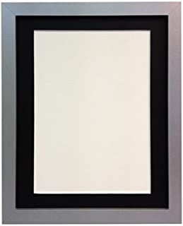 FRAMES BY POST H7 Picture Photo Frame, Wood, Silver with Black Mount, 10 x 8 Image Size 7 x 5 Inch