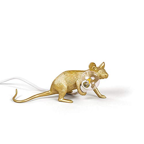 SELETTI Mouse Lamp Gold, Lying Down