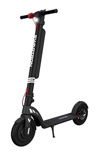 """Swagtron Swagger 7T Electric Scooter for Adults with Removable Battery Powerful 350W Motor and 18.9-Mile Extended Range, 3-Step Fold & Go Design with Maintenance-Free 10"""" Tires (IP54)"""