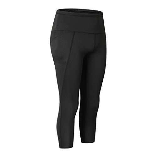 WOZOW Damen Leggings Gamaschen Capri Solid Seitentasche Cropped Trousers Casual Dünn Skinny Stretch Workout Jogginghose Sport Hose Yoga Stoffhose (2XL,Schwarz)