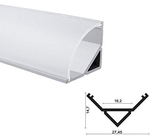 LED Alu Profile Eckprofil eloxiert für 16mm LED-Streifen (z.B. für Philips Hue Led Strip) mit einklickbarer SEMI Abdeckung 200 cm - Spree