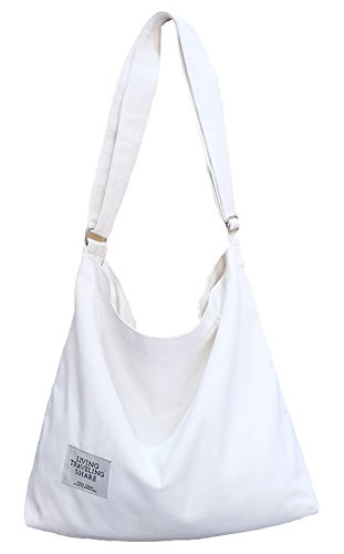 "Material: this shoulder bag is made of soft canvas, very light and durable for daily use. Many ways to carry: This canvas can be a shoulder bag, a crossbody bag or a tote bag. Easy to match your garments. Size Details: 12.2"" x 3.5"" x 12.2"", handle dr..."