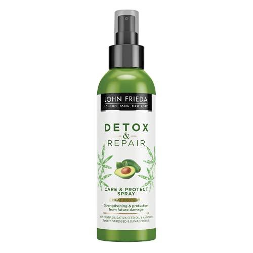 John Frieda Spray Detox, Protector de Calor, Pelo Dañado y Seco, Reparador, Verde, 250 ml