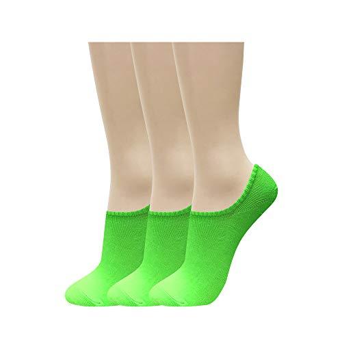 CUTIE MANGO Damen-Socken, rutschfest, niedriger Schnitt, Neonfarben, 3 bis 10 Paar Gr. One size, 3 Paare_Neongrün