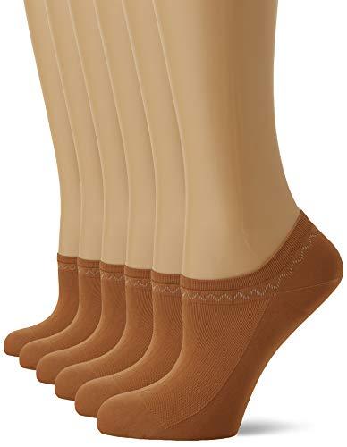 Nur Die Damen 6er Feines Schuhsöckchen Füßlinge, Braun (Amber 230), 39-42
