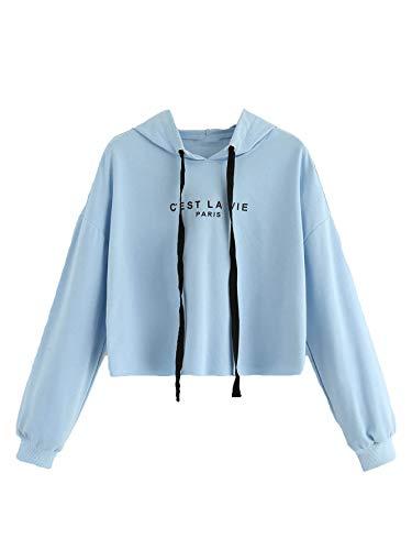 SweatyRocks Women's Letter Print Casual Long Sleeve Crop Top Sweatshirt Hoodies Light Blue M