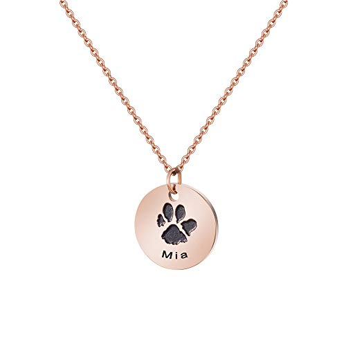 Mia Personalized Dog Car Name Disc Necklace 14K Rose Gold Cute Dainty Delicate Unique Pet Memorial Jewelry Handmade Engarved Pawprint Birthday Gifts for Her Best Friend Aunt Granddaughter