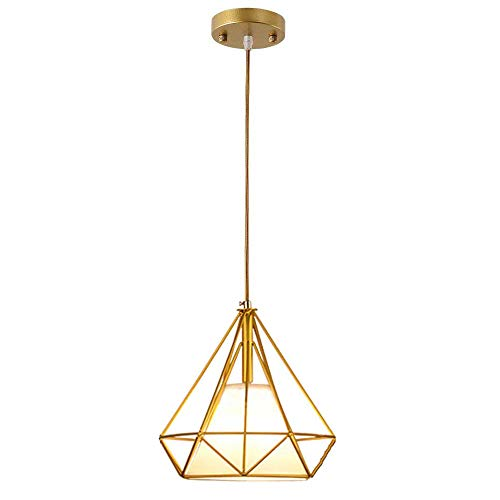Hänge Lampe Wohnzimmer Leuchte Käfig Hängelampe Retro Hängeleuchte (25cm 1-Flammig 7W E27 G45),Gold