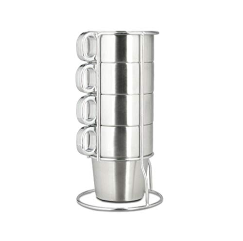 TOHOYOK Apilable Taza de Acero Inoxidable Ajustado 4/6 pcs, Taza de Agua de Metal con Mango, de Doble Pared con Aislamiento Taza, con el Estante de Almacenamiento, café/Bebida de té de