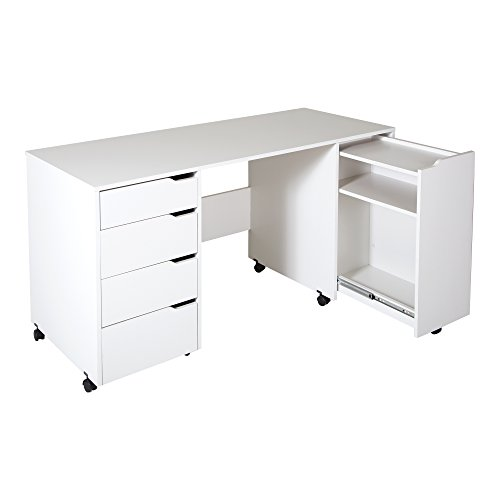 South Shore Crea Craft Table on Wheels with Sliding Shelf, Storage Drawers and Scratchproof Surface, Pure White
