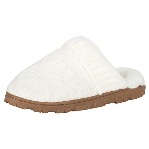 Jessica Simpson Women's Soft Cable Knit Slippers with Indoor/Outdoor Sole, Cream, Large