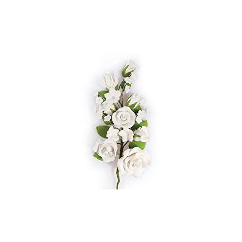 Partycakes4u Gran Rosa azúcar Color Blanco Flor Spray cumpleaños para Pastel de Boda decoración para Bodas