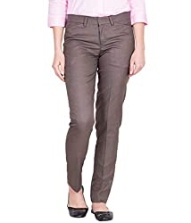 American-Elm Womens Brown Cotton Stylish Solid Ankel Length Formal Trouser for Everyday