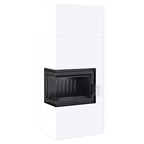 Kratki Home Simple Box Kamin-Ofen Stahl-Verkleidung weiß 2-Seitig Türanschlag links Fertig-Bausatz 8kw Bauart 2 200mm Agbasstutzen-Durchmesser BImSchV 2