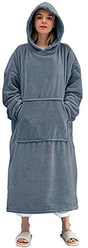 Manta con capucha de doble cara de franela, para dormir, con bolsillo, cómoda y cálida, para hombre y mujer, color gris