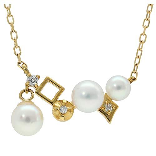 新宿銀の蔵 K18 あこや真珠 ダイヤモンド ランダム ラインネックレス 18金 18k ネックレス あこや 真珠 パール 揺れる 真珠チャーム