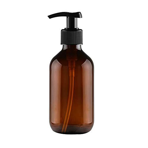 Kentop - Botella de vidrio de color ámbar con dispensador de jabón y loción de 300 ml, botellas de viaje, rellenables, de plástico vacío, color marrón