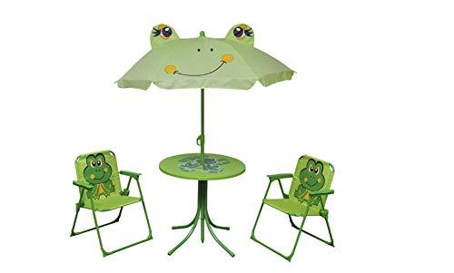 Juego de asientos para niños, muebles de jardín, mesa con sombrilla, 2 sillas, diseño de rana, para jardín, balcón, camping, playa, verde