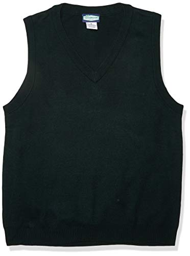 Classroom School Uniforms Men's Adult Unisex V-Neck Sweater Vest, Hunter, Medium