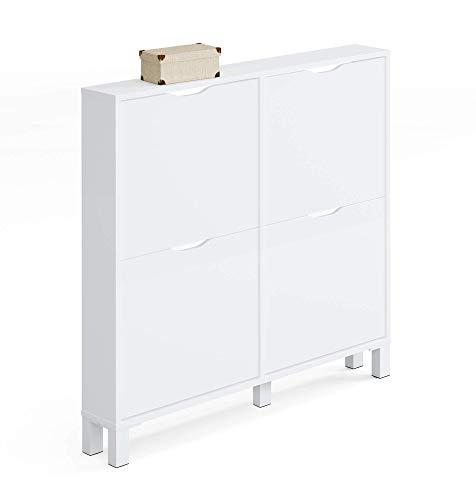 Muebles Pitarch Kay Zapatero, Aglomerado de Partículas y Melamina de Alta Densidad, Blanco Alto Brillo, 98 x 97 x 17 cm