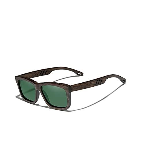 YWSZY Gafas de Sol KingSEVE Nuevo Natural UV400 Gafas de Sol de Madera Marco Completo 100% Hecho a Mano Espejo polarizado Lentes de Revestimiento Accesorios para Gafas (Lenses Color : Green G15)