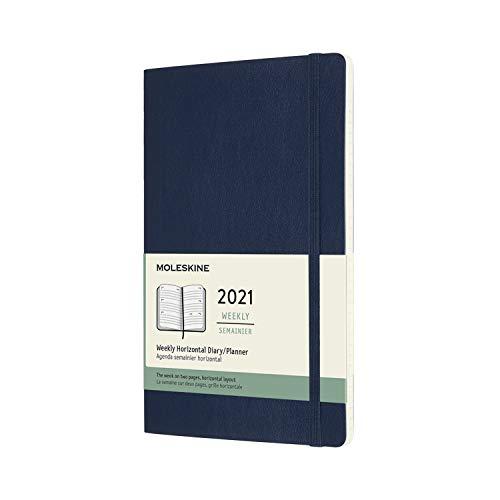 Moleskine - Agenda Semanal 2021, Agenda de 12 Meses, Planificador Horizontal con una Semana en dos Páginas, Tapa Blanda, Tamaño Grande de 13 x 21 cm, Color Azul Zafiro, 144 Páginas