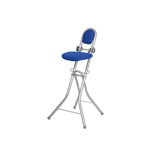 Ribelli Bügelstehhilfe Stehhilfe Stehstuhl 6-Fach höhenverstellbar klappbar Bügelstuhl Stehsitz ergonomisches Sitzen - Stehsitz zum Bügeln mit Rückenlehne (blau)