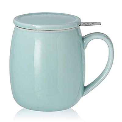 Peacehome Tea Cup Infuser Lid: 17.5 OZ Large Ceramic Tea Mug with Strainer & Cover for Steeping Cup of Hot Tea or Coffee - Fine Porcelain Infuser Tea Mug Set for Work Life Gift (Mint Green)