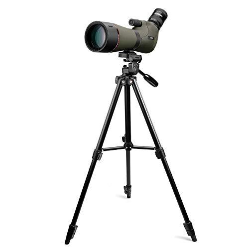 Svbony SV46 Telescopio Terrestre, 20-60x80 Telescooio Terrestre Profesional con Trípode, Enfoque Dual Lente FMC Prisma Bak4 IPX7 Impermeable Catalejos para Observación de Aves (Trípode 45-138cm)
