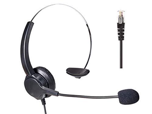 Ledlux - Auricular monoaural RJ9 profesional con micrófono - Ideal para teléfono fijo, teléfono IP, para la oficina, en la empresa - Incluye adaptador manos libere - Modelo n. VH500-RJ9