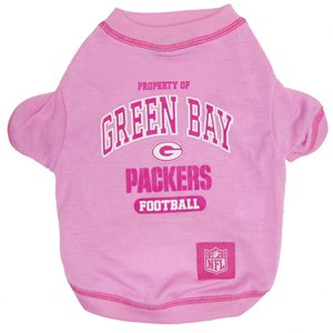 NFL Green Bay Packers Pink Dog T-Shirt, X-Small. - Football Sports Fan Pet Shirt.
