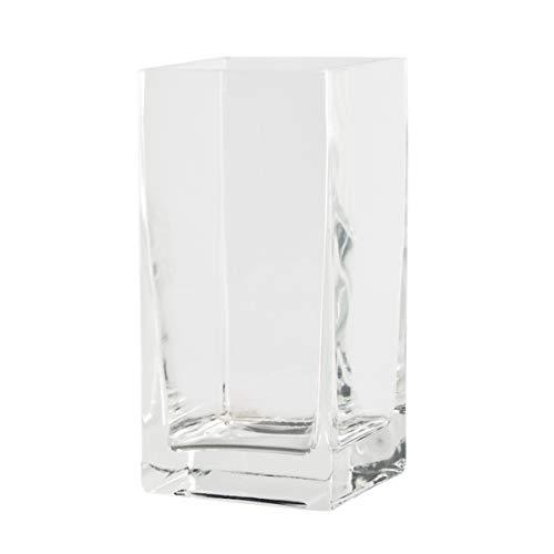 Varia Living Glas Quadrat Ferro Dekoglas in Form eines Würfels | Kastenvase als Übertopf für Orchideen | Cube Windlicht oder mit Teelichthalter | eckige Blumenvase