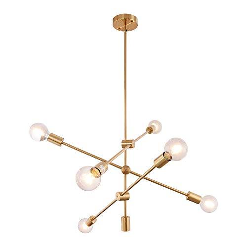 ASHUAQI Sputnik Lámparas de araña, 6 Luces Dorado Iluminación colgante Sputnik con...