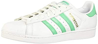 adidas Mens Superstar Leather White Green Gold Trainers 10 US