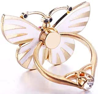 M&J Metal Finger Ring Holder Grip Stand for aLL Mobile Phone/Tablet with 360 Degree(White butterfly)