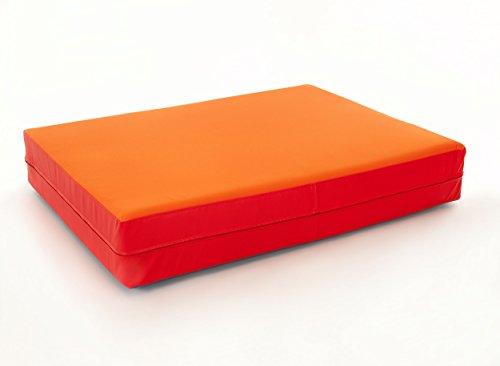 FLIXI Hüpfmatratze - ab 1 Jahre - Turn Matte für Kinder - Spiel Matratze zum Toben - Hüpfen - Balancieren Orange/Rot