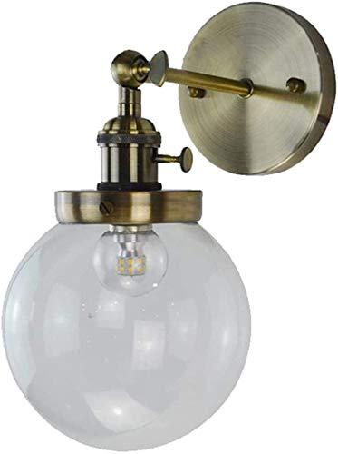 Lámpara industrial, Industrial vintage loft bar interruptor de cocina luces de pared accesorios corredor escono lámpara lámpara lámpara con 15 cm globo Lámpara de cristal transparente (bronce) ,Decora