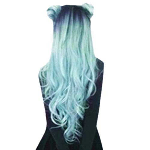 Mome2019 Valentine's Day Surprise Best Gift For Girlfriend Lover Wife Party Under 5 Free delivery Fashion Synthetic Long Wavy Gradient Dyeing Natural Hair Full Wigs For Women (Multicolor)