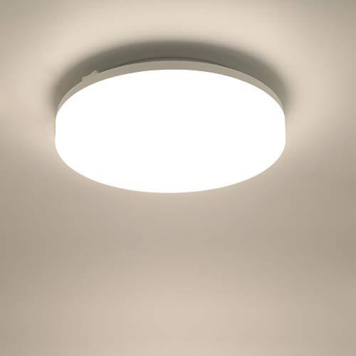 Lamker 15W LED Deckenleuchte 4000K Runde Modern Wasserfest IP44 Deckenlampe Deckenbeleuchtung 1350lm Super Hell für Wohnzimmer Küche Balkon Flur Badezimmer Bad Garage Büro Neutralweiß