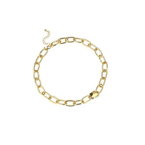 LTCTL Collar Personalidad de la Moda Collar de Metal Corto Collar para Hombres Mujeres, Collar de Cadena Cruzada de Moda de Cobre, Gran Regalo-Oro Regalo Collar