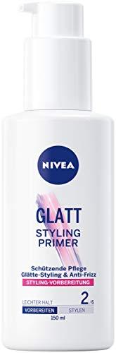 NIVEA GLATT Styling Primer, feuchtigkeitsspendender Balm zur Vorbereitung von glatten Haarstylings, Haarcreme mit Hitzeschutz (1 x 150 ml)